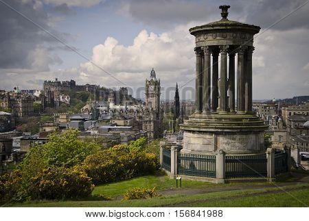 Edinburgh skyline view from Calton HIll of Castle