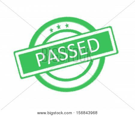 Illustration of passed word on green rubber stamp