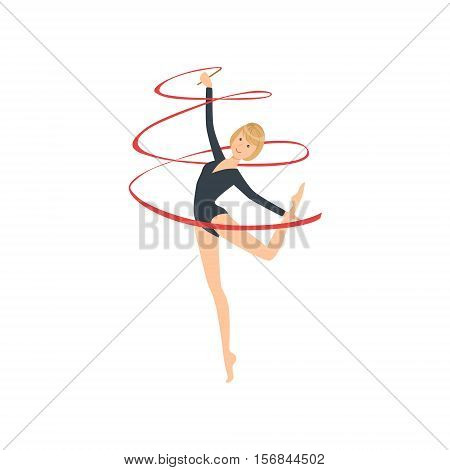Professional Rhythmic Gymnastics Sportswoman In Black Long Sleeve Leotard Performing An Element With Ribbon Apparatus. Female Competition Program Gymnast Performance Cartoon Vector Illustration.