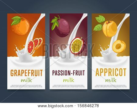 Milkshake concept with milk splash and fruit vector illustration. Milk dessert, yogurt, fruit mix, cocktail drink, fruit smoothie with grapefruit, passion fruit, apricot packaging. Dairy product.