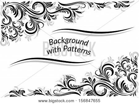 Vintage Calligraphic Ornament, Decorative Frame with Abstract Floral Pattern, Black Contours Isolated on White Background. Vector