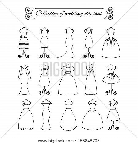 Collection of white thin line wedding dresses - stock vector illustration. Bride dress silhouette