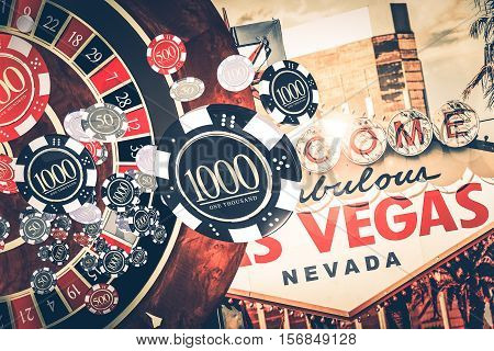 Vegas Casino Roulette Concept Illustration with Roulette Game Casino Chips and Las Vegas Strip Sign in a Background.
