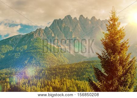 Scenic Italian Dolomites Mountain Vista. Italy Europe.