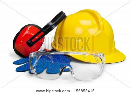 Safety equipment - hardhat, goggle, gloves and eye protection