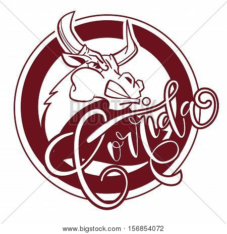 Corrida De Toros. Vector Illustration Aggressive Fighting Bull. Wild Buffalo Bull In Cartoon Style F