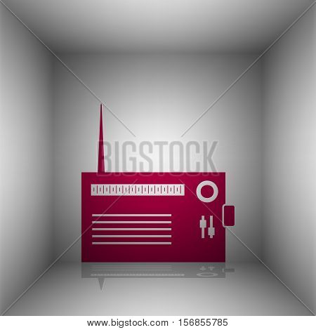 Radio Sign Illustration. Bordo Icon With Shadow In The Room.