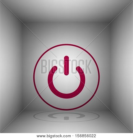 On Off Switch Sign. Bordo Icon With Shadow In The Room.