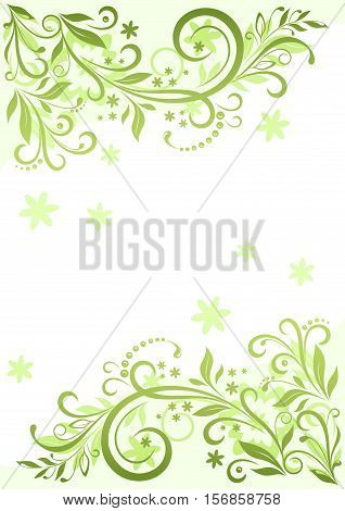 Background with Floral Pattern, Symbolical Green Leaves and Flowers Silhouette. Vector