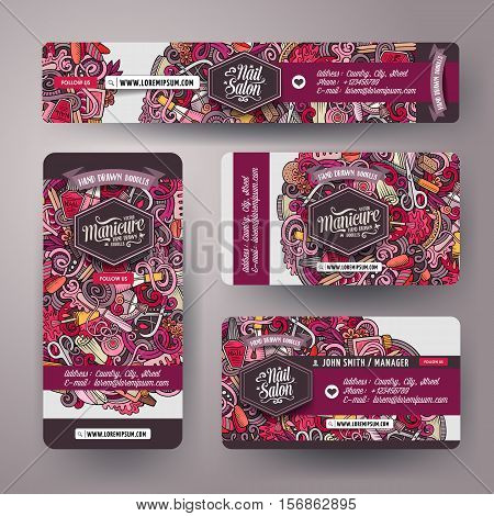 Corporate Identity vector templates set design with doodles hand drawn Nail salon theme. Colorful banner, id cards, flayer design. Templates set