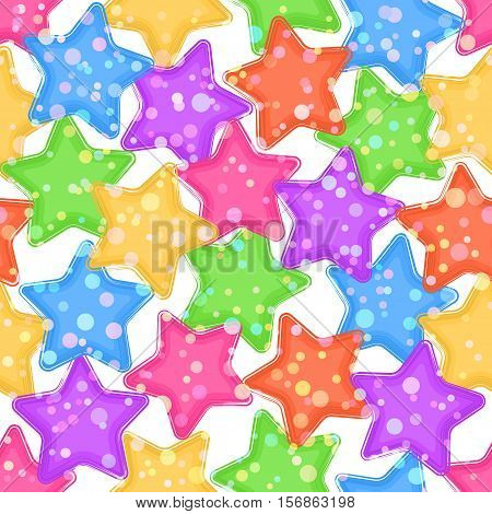 Seamless Pattern for Holiday Design, Colorful Stars and Rounds on White Background. Eps10, Contains Transparencies. Vector