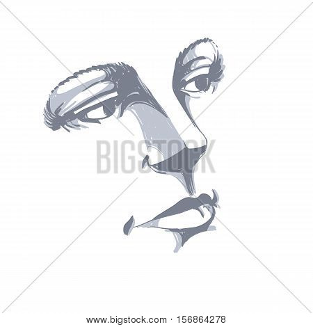Monochrome silhouette of romantic attractive lady face features.