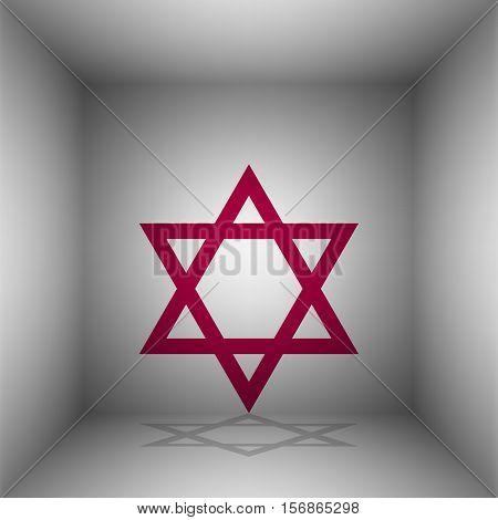 Shield Magen David Star. Symbol Of Israel. Bordo Icon With Shadow In The Room.