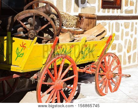 Rural province ethno cart old-fashioned winter mountains wheel traditional  Bulgaria simplycity snow