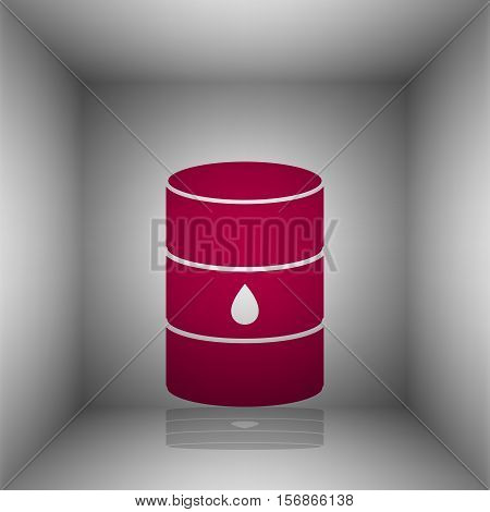 Oil Barrel Sign. Bordo Icon With Shadow In The Room.