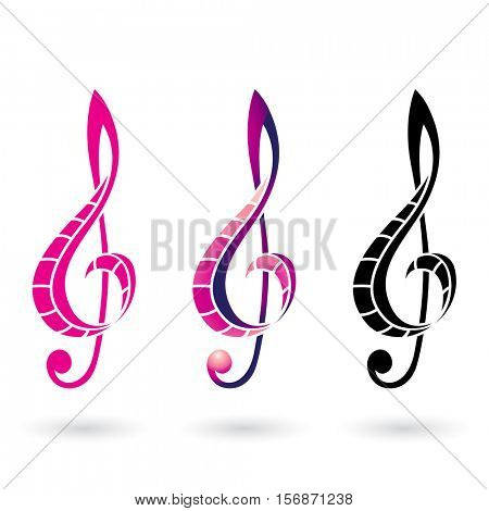 Vector Illustration of a Colorful Clef Sign isolated on a white background