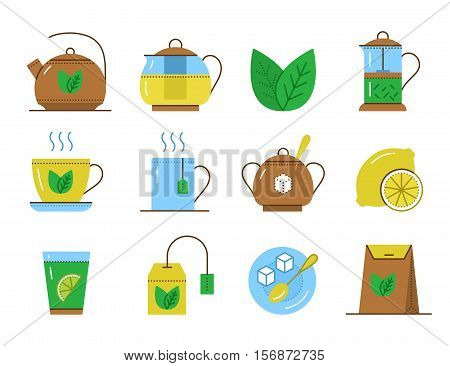 Set of tea line icons or pictogram. Vector illustrations: cup and kettle hot herbal drink teabag and mug sugar lemon and green leaf teapot. Flat design elements isolated on white background