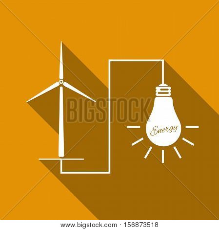 Wind mill turbine generating power energy and glowing light bulb. Natural renewable energy production using wind mills simple flat icon with long shadow. Vector Illustration