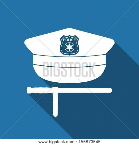 Police cap and baton flat icon with long shadow. Policeman uniform. Vector Illustration