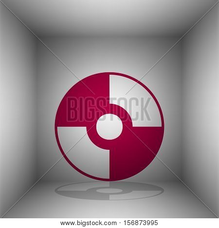 Vector Cd Or Dvd Sign. Bordo Icon With Shadow In The Room.
