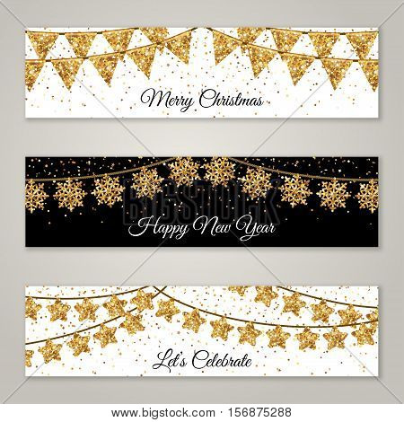 New Year Horizontal Banners Set with Gold Flag Garlands Decorations. Vector Illustration. Party Glittering Decor. Holiday Greetings Falling Confetti Snowflakes and Stars