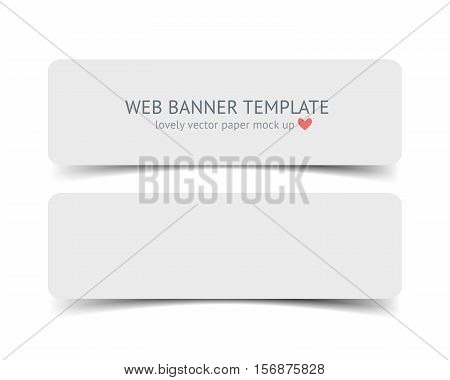 Realistic vector web banner, header, footer. Paper strip card wirh round corners and shadow isolated on white background.