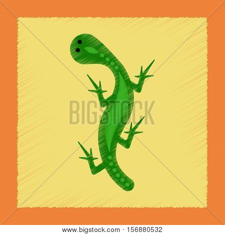flat shading style icon of lizard reptile