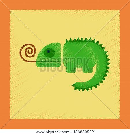 flat shading style icon of reptile chameleon