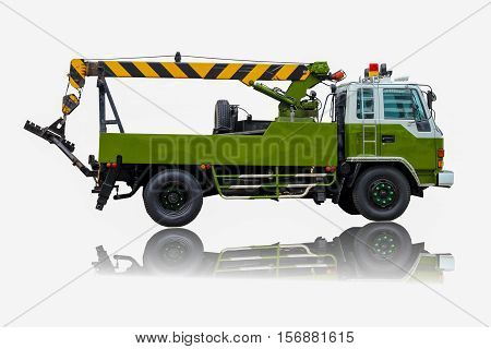 Green Truck or truck crane with lift in factory