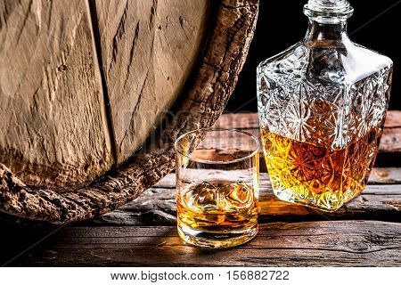 Glass Of Whisky In The Old Cellar