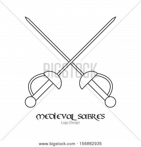 Medieval crossed sabres swords. Single rapier logo in modern thin line style isolated on white background. Outline medieval theme symbol. Simple mono linear pictogram. Stroke vector logotype template