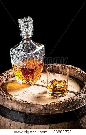 Old Barrel And A Glass Of Scotch