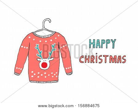 Happy Christmas Caribou jersey card hand drawn vector illustration
