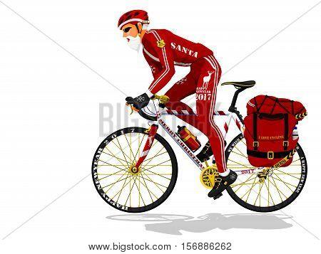 Santa is riding touring bike on transparent background