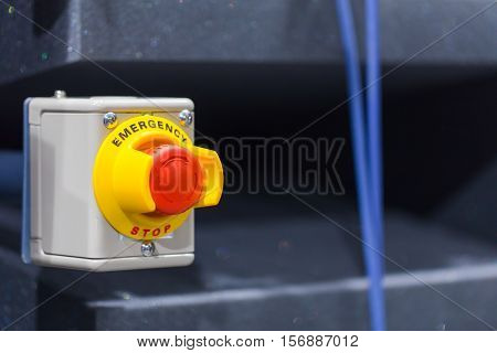 The Red Emergency Button Or Stop Button For Hand Press. Stop Button For Industrial Machine, Emergeny