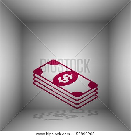 Bank Note Dollar Sign. Bordo Icon With Shadow In The Room.