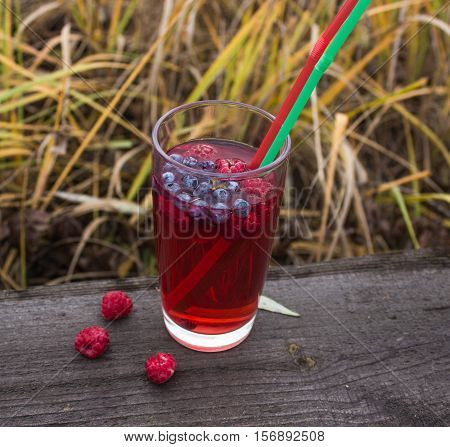 Pomegranate juice smoothie with berries and lemon on the background of meadows