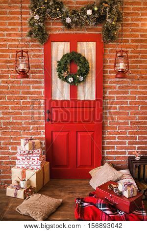 Christmas Interior In Red And Brown Colors