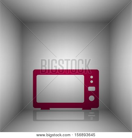 Microwave Sign Illustration. Bordo Icon With Shadow In The Room.