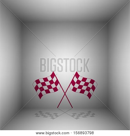 Crossed Checkered Flags Logo Waving In The Wind Conceptual Of Motor Sport. Bordo Icon With Shadow In