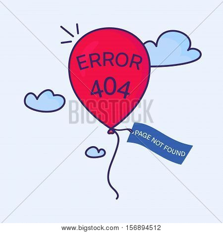 Page not found. 404 error creative design. Red balloon with a tag flying in the sky. Web site design template. Isolated vector illustration.