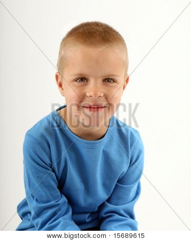 Portrait of a young boy, isolated on white