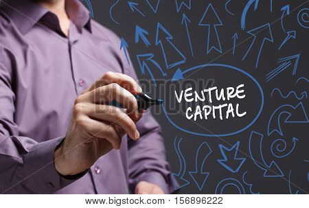 Business, Technology, Internet And Network Concept. Young Business Man Writing Word: Venture Capital