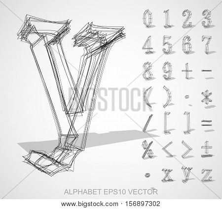 Abstract illustration of a sketched Numbers And Mathematical Symbols with transparent shadow. Set of hand drawn 3D Numbers And Mathematical Symbols for your design. EPS 10 vector illustration