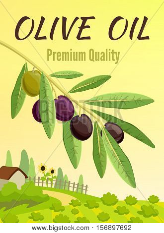 Olive colored poster with flat elements and olive branch in the foreground vector illustration