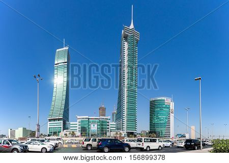 MANAMA, BAHRAIN -  NOV 16, 2016: View of the Harbour Towers in the Bahrain Financial Harbour with Harbour Gate