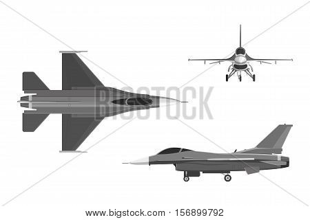The image of military aircraft. Three views of airplane: top side front. Vector illustration