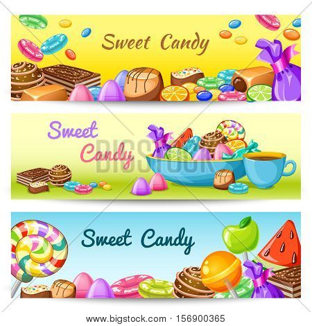 Three isolated colored horizontal sweet candy banner set with multicolored description sweet candy vector illustration
