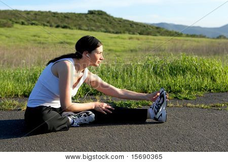 Woman getting ready to run