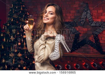 A New Years Toast To Love And Laughter And Happily Ever After. Girl With A Champagne And High Heels